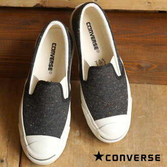 CONVERSE converse slip-on sneakers JACK PURCELL NEPWOOL SLIP-ON converse Jack Purcell NEP wool slip-on black (32262431 FW15)