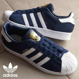 adidas Originals愛迪達原始物運動鞋人分歧D SUPERSTAR SUEDE大明星韋德高等專門學校深藍/跑步白/高等專門學校深藍S75142 SS16