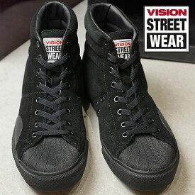 【9/19 14時までポイント10倍】VISION STREET WEAR ヴィジョン ストリートウェア メンズ スニーカー 靴 SUEDE HI ビジョン スケートシューズ スエード ハイカット ブラック (VSW-7351)【コンビニ受取対応商品】