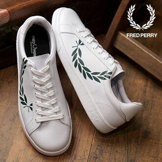 FRED PERRY Fred Perry B722 pudding Ted laurel leather laurel print B721 PRINTED LAUREL LEATHER sneakers shoes men Lady's WHITE (B4231-100 FW18)
