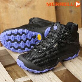 メレル MERRELL レディース カメレオン7 ストーム ミッド ゴアテックス W CHAMELEON7 STORM MID GORE-TEX 完全防水 アウトドア トレッキングシューズ 靴 BLACK (31120 FW18)