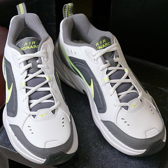 【即納】ナイキ NIKE エア モナーク 4 AIR MONARCH 4 メンズ スニーカー 靴 ホワイト/ホワイト/クールグレー/ボルト/アンスラサイト (415445-100 SS19)