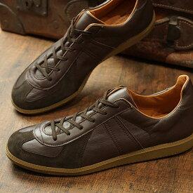 リプロダクション オブ ファウンド REPRODUCTION OF FOUND メンズ ジャーマン トレーナー GERMAN MILITARY TRAINER ミリタリー スロバキア製 スニーカー 靴 DARK BROWN ブラウン系 (1700L FW19)