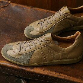 リプロダクション オブ ファウンド REPRODUCTION OF FOUND メンズ ジャーマン トレーナー GERMAN MILITARY TRAINER ミリタリー スロバキア製 スニーカー 靴 DARK BEIGE ベージュ系 (1700L FW19)