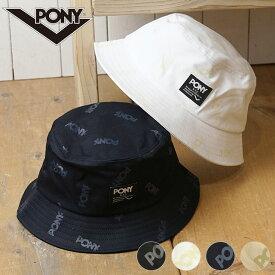 【12/18 14時まで!ポイント10倍】ポニー PONY 総柄織りネームバケットハット メンズ・レディース フリーサイズ ロゴ 帽子 (PN-PM002 FW19)【メール便可】