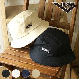 【12/18 14時まで!ポイント10倍】ポニー PONY 刺繍バケットハット メンズ・レディース フリーサイズ ロゴ 帽子 (PN-PM003 FW19)【メール便可】