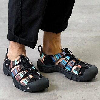 男子的KEEN基恩Newport H2 MNS体育活动拖鞋纽波特H2 Raya Black(1001942)
