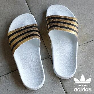 阿迪達斯原件 adiliette 女性黃金遇到、 運行白色 / 運行白色淋浴涼鞋阿迪達斯原件 ADILETTE W S78860 SS16