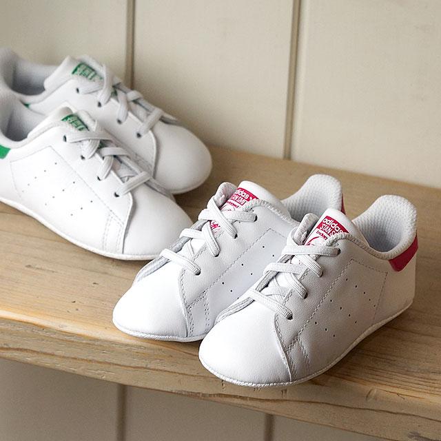 【即納】【10〜12cm】adidas アディダス スニーカー キッズ オリジナルス STAN SMITH CRIB スタンスミス ベビー Rホワイト/Rホワイト/ボールドピンク (S82618 SS18)【コンビニ受取対応商品】
