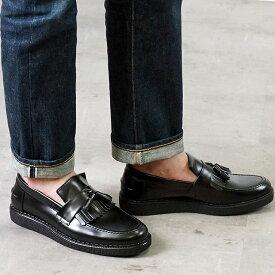 【サイズ交換片道送料無料】FRED PERRY フレッドペリー スニーカー 靴 メンズ・レディース FP × GEORGE COX TASSEL LOAFER LEATHER ジョージコックス タッセル ローファー レザー BLACK (B8278-102 SS18)