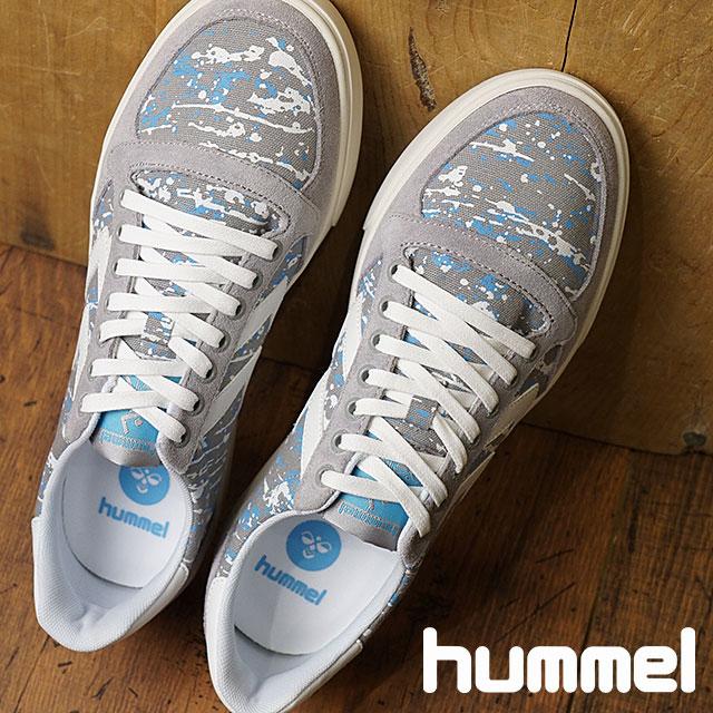 【在庫限り】hummel ヒュンメル メンズ・レディース スニーカー 靴 SLIMMER STADIL PRINT LOW スリマー スタディール プリント ロー ALLOY グレー (HM201589-1100 SS18)【e】【ts】【コンビニ受取対応商品】
