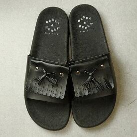 ヘンリー アンド ヘンリー HENRY & HENRY 180 タッセルズ 180 TASSELS メンズ・レディース スライドサンダル ビーチサンダル 靴 BLK/NERO ブラック系 (45348-009 SS19)【ts】【e】