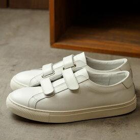 【月間優良ショップ受賞】【サイズ交換片道送料無料】ヨーク YOAK 国産スニーカー ルーク LUKE ( SS20) メンズ 日本製 ベルクロ レザーシューズ 靴 WHITE ホワイト系