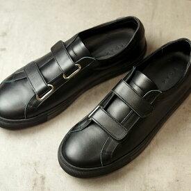 【月間優良ショップ受賞】【サイズ交換片道送料無料】ヨーク YOAK 国産スニーカー ルーク LUKE ( SS20) メンズ 日本製 ベルクロ レザーシューズ 靴 BLACK ブラック系