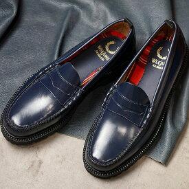 【楽天カードで12倍】【コラボ】フレッドペリー FRED PERRY ローファー GHバス ペニーローファー FP×G.H.BASS PENNY LOAFER [SB8070-608 SU20] メンズ・レディース 革靴 NAVY ネイビー系
