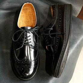マネブ MANEBU ウィングチップ レザーシューズ UKI FACESKIN レザースニーカー メンズ 靴 BLACK (MNB-003B)