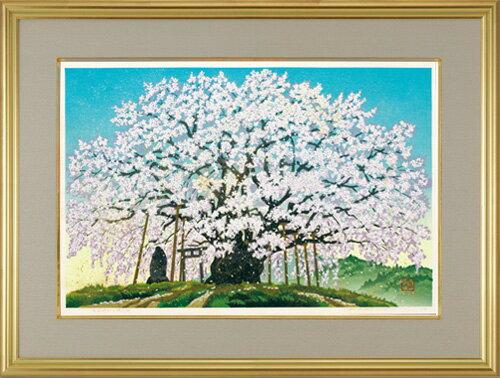 井堂雅夫『素桜神社の神代桜』【木版画・絵画・長野】【通販・販売】