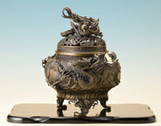 銅製『双龍大香炉』水晶・敷板つき