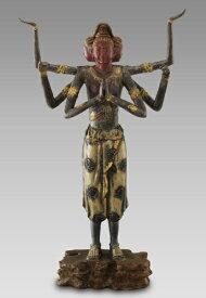 仏像 彫刻 青銅製 『 阿修羅 像 』漆仕上げ 日展作家 喜多敏勝 高さ41cm 通販 販売