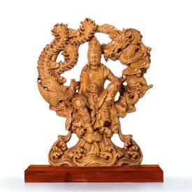 金安 崖柏木細密彫り『龍鳳観音坐像』【仏像・木彫・低価格・安い】【通販・販売】