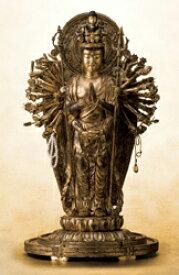 仏像 木 彫刻 『 千手観音 菩薩 立像 』樟 くすのき 金泥古色仕上げ 高さ56cm 御本尊 仏教彫刻家 黄衛 通販 販売