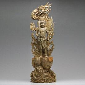 仏像 木 彫刻 『 不動明王 立像 』 【大】 高さ83cm 緑檀 御本尊 仏教彫刻家 李建敏 通販 販売 新聞掲載