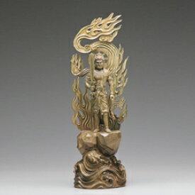 仏像 木 彫刻 『 不動明王 立像 』 【小】 高さ83cm 緑檀 御本尊 仏教彫刻家 李建敏 通販 販売 新聞掲載