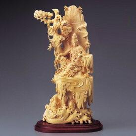 仏像 黄楊 一木彫り『 自在観音 』 木彫 彫刻 桐箱付き 通販 販売 プレゼント