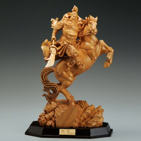 関羽雲長 赤兎馬 木彫 『 武聖 』 三国志 仏像 葉小鵬 家運隆盛 彫刻 通販 販売 プレゼント