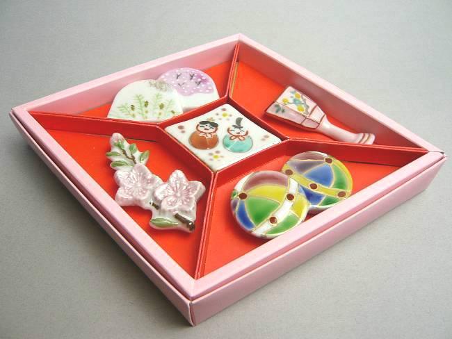 母の日ギフトにおすすめ京焼 清水焼 京のひなまつり箸置きセット 芳山
