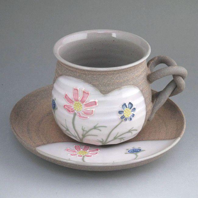 京焼 清水焼 焼締コスモスコーヒー茶碗 雅楽