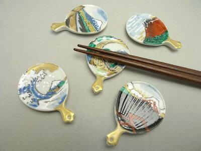 【京焼清水焼】箸置きうちわ富士絵セット