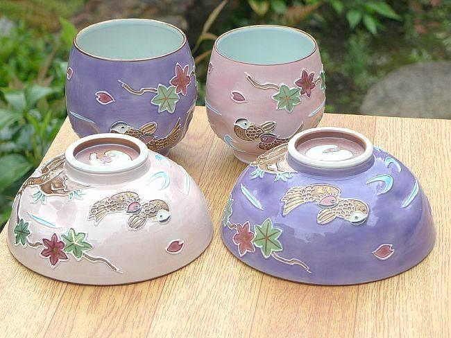 京焼 清水焼 交趾 雲錦 おしどり夫婦湯飲みと夫婦茶碗セット 昇峰
