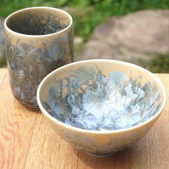 One Kiyomizu ware flower crystal teacup rice bowl set ash blue