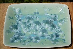 京焼 清水焼 花結晶長角皿 緑単品