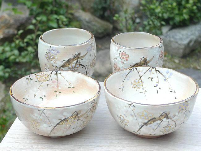京焼 清水焼 京の春夫婦湯呑と夫婦茶碗セット 俊山