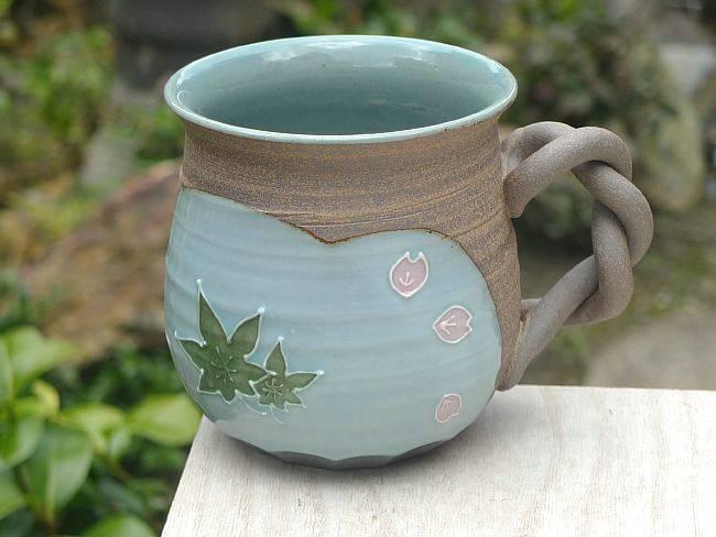 京焼 清水焼 焼締雲錦マグカップ 雅楽