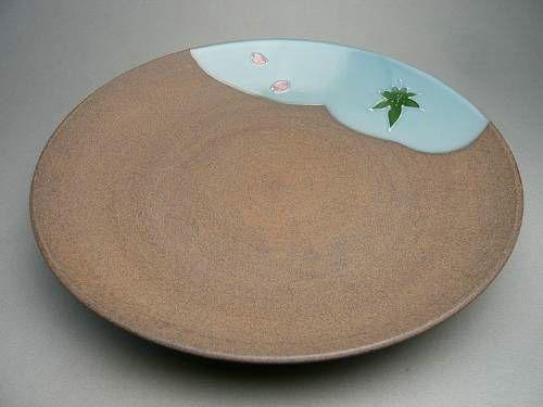 京焼 清水焼 焼締雲錦皿8寸 雅楽
