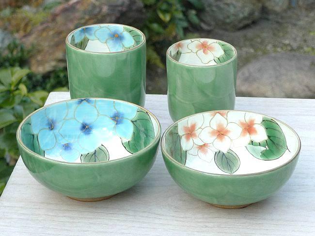 京焼 清水焼 織部紫陽花夫婦湯呑と夫婦茶碗セット