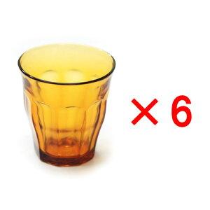 (6個入り) デュラレックス (DURALEX) ピカルディアンバー 220cc /全面物理強化ガラス グラス タンブラー コップ おしゃれ 定番 カフェ 水飲みグラス ソフトドリンク 食洗機対応 電子レンジ対応 丈