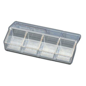 日本製 キッチンポット 保存容器 薬味 小分け容器 SAポリカーボネイト スパイスケース 4ヶ入長 調味料ケース 料理道具 ポリカーボネイト樹脂 業務用 8-0212-0102