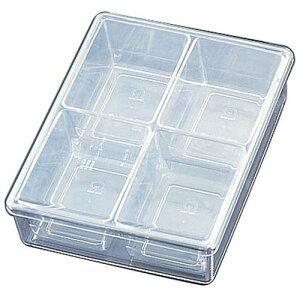 日本製 キッチンポット 保存容器 薬味 小分け容器 SAポリカーボネイト スパイスケース 4ヶ入角 調味料ケース 料理道具 ポリカーボネイト樹脂 業務用 7-0210-0103