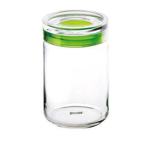イタリア製 キッチンポット 保存容器 乾物 ガラス guzzini ガラスジャー 2855 16441000ccグリーン 料理道具 メタクリル樹脂 AS樹脂 ポリスチレン ポリエチレン 業務用 8-0092-1511