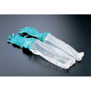 日本製 手袋 ダンロップ 腕カバー付 中厚手手袋 L ゴム手袋 長靴・白衣 材質/手袋本体:表/二トリルゴム・裏/綿(植毛) 腕カバーEVA樹脂 リング/ポリエチレン樹脂 業務用 8-1422-0302