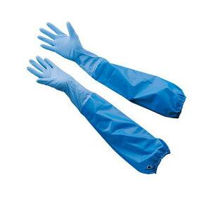 エステーニトリル耐油薄手 腕カバー付手袋 ブルーNo.360S ゴム手袋