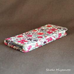 iPhone6sPlusケース・手帳型:リバティ・リバティ・マーガレットアニー(オレンジ&ピンク)おしゃれかわいいiPhone6Plus,iPhone6sPlus