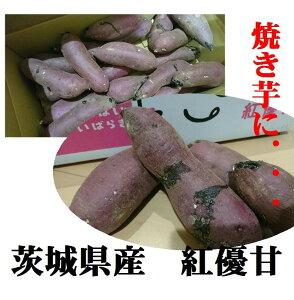 「焼き芋に最適!!」「熟成すれば蜜芋に!!」茨城県産 紅優甘(サツマイモ)2L〜M寸 1箱1.5kg(4〜8本入り)