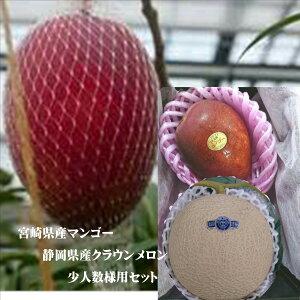 静岡県産 クラウンメロン1玉&宮崎産完熟マンゴー2L寸1玉 化粧箱入(メロン1玉当たり1.1kg〜1.2kg・マンゴー1玉あたり350g〜400g)※化粧箱のデザインが変わる場合がございます。