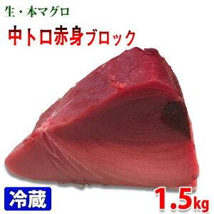 生・本マグロ 中トロ・赤身ブロック 約1.5kg(国産・養殖)