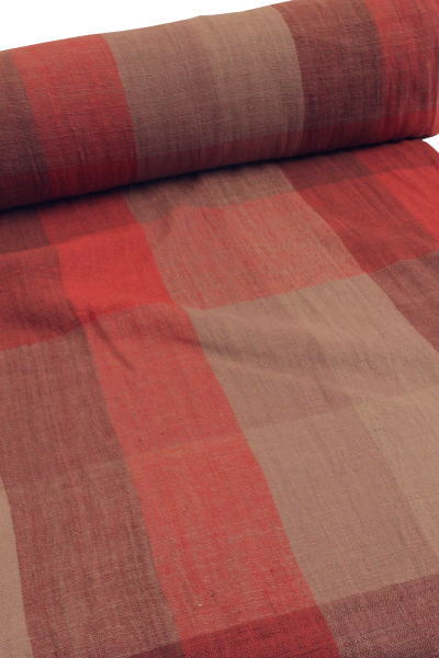 格子柄、綿生地 品番、ENR-1/PK(1503) 幅70cm(手紡ぎ、草木染の手織り布)チェック、コットン【ナーニャン村の布】